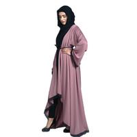 vestido vestido mujeres musulmanas al por mayor-Abaya Maxi vestido de noche las mujeres musulmanas estilo Dubai mujeres abren frente Kaftan Abaya musulmán Cardigan Jilbab vestido de encaje vestido Z411