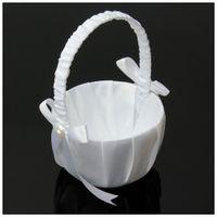 canasta de flores de novia al por mayor-Canasta de boda canastas de novia de flores Blanco satinado Bowknot PERLA Niña de las flores Canasta Contenedor Ceremonia de boda Fiesta