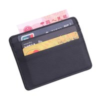 billetera de lichi al por mayor-Hombres Mujeres Durable Delgado simple de viaje Lichee Banco de cuero Tarjeta de identificación comercial Titular de la cartera con monedero