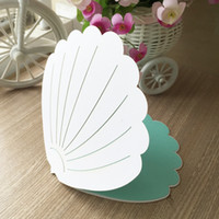 convite de marfim venda por atacado-Marfim luxo exclusivo shell criativo oco out pearl paper envelop convite de casamento de praia cartão de bolso festa de aniversário jantar frete grátis