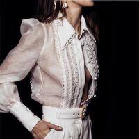 moda bayan dantel toptan satış-Zarif Gömlek Bluz Kadınlar Peter Pan Yaka Uzun Kollu Dantel Bluz Kadın Bayanlar OL Moda 2019 Bahar Tops