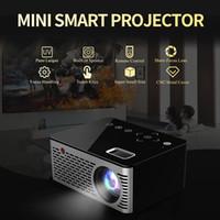 mini proyector usb accionado al por mayor-T200 Pocket Mini Projector, teclas táctiles HDMI USB AV Videojuego Proyector LED Beamer Soporte Banco de energía Carga