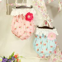 Wholesale strawberry girls clothing resale online - New Fashion Toddler Romper Baby Strapless Strawberry Onesizes with Big Flowers Kids Girls Jumpsuit Baby Clothes