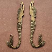 Wholesale vintage bookmark accessories resale online - bronze bookmark large mermaid pendant jewelry charms Vintage diy jewelry accessories mm