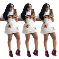 forro al por mayor-Diseñador de la marca Vestido abeja Turn Down Collar Mini camisas Falda A-Line vestidos ajustados Ropa de mujer Vestidos de fiesta Vestido de verano C6505