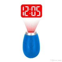 luz negra ultrafire venda por atacado-BRELONG projeção Digital relógio anel chave Mini relógio de projeção LCD Night Light Magia Projetor Relógio Vermelho Azul Preto