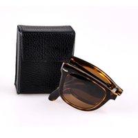 caixas dobráveis para copos venda por atacado-óculos de sol originais de design dobrável homens mulheres vidro vidros UV400 feita lentes des lunettes de soleil dobrar livre capa de couro, acessórios!