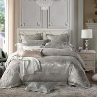 Wholesale grey silk bedding sets resale online - 2018 Silver Grey Phoenix Flowers Bedding Sets Silk Cotton Blend Jacquard Bedlinens Queen King Duvet Cover Bedspread