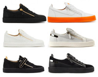 männer beiläufige reißverschlussschuhe groihandel-Italien Designer Schuhe aus echtem Leder Freizeitschuhe Golden Zipper Männer und Frauen Low Top Zip Sneakers Trainer 35-47