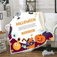 Wholesale warm mat resale online - Halloween Blanket Funny Pumpkin Cartoon Cute Blanket for Adult Kids Thick Warm Super Soft Flannel for Home Decoryoga Mat