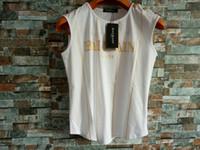 белые футболки без рукавов оптовых-Balmain белый металл плечевая пряжка золотой логотип без рукавов футболки печатные свободные хлопчатобумажная полоса с сексуальная мода женщины девушка