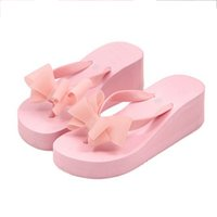 дамские высокие триггерные платформы оптовых-Fashion Women Fabala High Flat Heel Flip Flops Bohemian Sandals Ladies Platform Wedge Slippers Bowknot Holiday