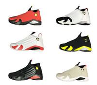 erkekler ayakkabı fiyatları toptan satış-14 basketbol ayakkabı son atış çöl kumu yetiştirilmiş siyah ayak kırmızı araba siyah sarı erkek kadın eğitmenler kutu ile ucuz fiyat