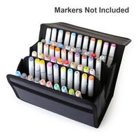 cuir de marqueur achat en gros de-60 Trous En Cuir PU École Crayon Cas Professionnel Art Marker Sketch Crayon Sac Pliant Grande Capacité Crayon Papeterie