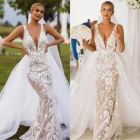 Wholesale wedding tulle overskirt for sale - Group buy 2020 Sexy Deep V neck Mermaid Bridal Dresses with Detachable Train Lace Appliques Tulle Overskirt Garden Wedding Dress robes de mariée