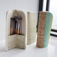 подставка из цветного дерева оптовых-Макияж кисти для защиты окружающей среды древесины зерна металл цвет портативный сумка для хранения кисти сумка