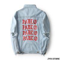 frauen militärjacken großhandel-Beste Version Pablo Print Jeansjacke Season3 Kanye West Pablo Jeans Jacke Hip Hop Paul Military Frauen Männer Jacken Mantel