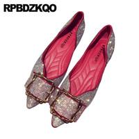 flat rhinestone casamento sandálias venda por atacado-Strass dedo apontado mulheres vestido sapatos flats bailarina vermelho slip on bling ballet sandálias de metal prata diamante cristal de casamento