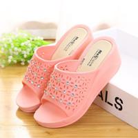 sapatos de diamante rosa sapatos de salto alto venda por atacado-FEERIJT NEW 2019 moda verão sapatos de salto alto das mulheres cunhas cunhas de renda legal sandálias de diamantes sapatos femininos tamanho grande 35-43