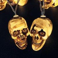 nuevas luces decorativas festival al por mayor-Cráneo de Halloween de iluminación nueva esquelético del cráneo decorativo Cadena-lámpara LED de la lámpara del fantasma Festival de Pequeño color