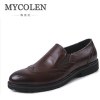 мужская обувь из кожи ручной работы оптовых-MYCOLEN Italian Style Handmade Mens Dress Shoes Genuine Leather  Designer Carved Oxfords Shoes Men Herrnschuhe Leder