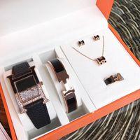 quarzuhr armband set großhandel-New Fashion Womens Luxusuhr Schmuck Sets Armbänder Ringe Halsketten Ohrring Echtes Leder Quarz Marke Designer Uhren Herm Lady Geschenk