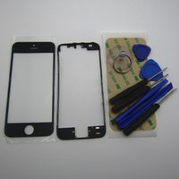 Wholesale black glass housing iphone 4s online – custom Front LCD touch Screen Glass Lens with middle frame bezel housing Replacement Parts for iPhone S S m sticker