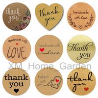 enveloppes de cartes papier achat en gros de-Merci avec amour coeur autocollants adhésifs pour enveloppes carte cachetage autocollant bricolage cadeau gâteau de bonbons en papier Tags 1 rouleau = 500 pcs