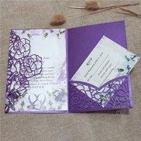 Wholesale white wedding invitation envelope resale online - Gorgerous Purple Laser Cut Invitation For Wedding Quinceanera Tri fold Laser Pocket With Customized Insert Envelope And RSVP Card