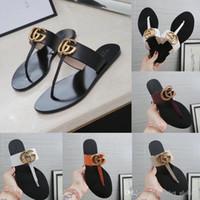 mulher de couro de tanga venda por atacado-Nova sandália de couro tanga sandálias das mulheres chinelos feminino chinelos sandálias de luxo designer de mulher com caixa
