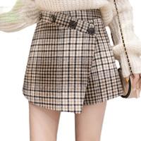 3cfa9db42f Wool Plaid Skirt Winter Clothes New Arrivals Korean Fashion Style Mini High  Waist Skirt With Buttons Woman Skirts Elegant