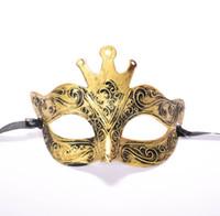 antigua roma de halloween al por mayor-2019 Charm New Vintage Crown Carved Bronze Party Mask Ancient Rome Half Face Masquerade máscaras para el Año Nuevo Decoraciones de Halloween