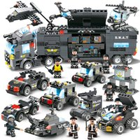 Wholesale toys for children trucks for sale - Group buy 647pcs City Police Series Swat In City Police Truck Station Building Blocks Small Bricks Toy For Children Boy Y190606