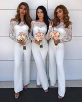 Wholesale suits for bridesmaids for sale - Group buy Off Shoulder Lace Jumpsuit Bridesmaid Dresses for Wedding Sheath Backless Wedding Guest Pants Suit Gowns Plus Size BA8978