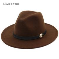 gömlekli kışlık şapka toptan satış-Sıcak Marka Katı Renk Fedoras Sonbahar Kış Erkek Kadın Üst Kap kadın Şapka Hissettim Geniş Geniş Kenarlı Sombrero Caz Bayanlar Bağbozumu Şapkalar D19011102