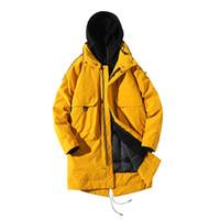 парковая куртка мужская чёрная оптовых-men winter jacket cotton coat windproof male safari jackets thick Thermal  long men's parkas black yellow
