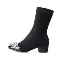 botas de trabalho de equitação venda por atacado-Moda Botas de Couro Genuíno Mid-Calf Botas de Trabalho Do Dedo Do Pé Quadrado Preto decoração De Cristal Zipper Equitação botas mulheres sapatos