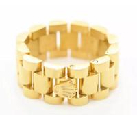 anéis da cruz do ouro dos homens venda por atacado-Anel clássico Banda de Luxo Dos Homens Anel de Aço Inoxidável Tom de Ouro Estilo Hiphop Pulseira Presidente cruz anel DJ street fashion