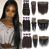 Wholesale unprocessed raw human hair for sale - Group buy Unprocessed Brazilian Body Wave Human Hair Bundles with Closure Straight Raw Indian Virgin Hair Bundles with Frontal Kinky Deep Extensions
