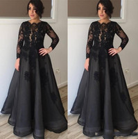 Wholesale mother of the bride evening dresses for sale - 2019 Modest Black Long Sleeves Mother Of the Bride Dresses Lace Appliques Scoop Neckline Floor Length Mother Formal Evening Red Carpet Gowns