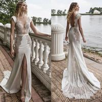 Wholesale plunging neckline bridal lace resale online - Lian Rokman Front Split Mermaid Wedding Dresses Sexy Sheer Plunging Neckline Lace Appliqued Satin Bridal Gowns robe de mariée