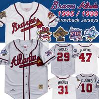 cesur beyzbol toptan satış-Atlanta 1999 1995 dünya serisi 715 İK 25th yama Braves Jersey John Smoltz 31 Maddux 10 Parçalayıcı Jones 49 John Rocker Beyzbol Formalar