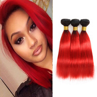 Wholesale red ombre human hair extensions weave for sale - Group buy Dressmaker Hair Black To Hot Red Ombre Wave Hair Bundles Peruvian Virgin Straight Human Hair Extension Double Weft