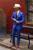 esmoquin azul vintage al por mayor-Increíble 2019 Classic Royal Blue Novio Tuxedos Barato Slim Fit solapa con muesca 2017 Vintage Wedding Prom Men Suit (Jacket + Pants + tie)