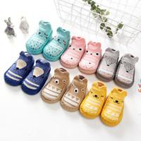 Wholesale baby slips for sale - Group buy 12 Styles Newborn Baby Boy Girl Socks Anti Slip Fox Owl Dog Cartoon Ears Floor Socks Baby First Walkers Floor Toddler Step Shoes Sock M668