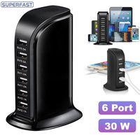 mikro-luft-ladegerät großhandel-Micro-USB-Ladegerät Hub 30 W USB-Netzteil 6 Anschlüsse Hochgeschwindigkeits-Multi-USB-Splitter All-in-One für iPhone iPad Air Samsung mit Kleinkasten