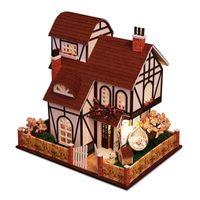 ingrosso luci da giardino in miniatura-Kit di mobili per casa delle bambole in legno Miniature Garden Villa Puzzle Mode Casa delle bambole fai da te a LED per bambini Bambini regalo di compleanno di Natale