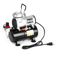 bomba de pressão de pistão venda por atacado-KKmoon Spraying compressor de ar com tanque 1/6 HP Piston Airbrush Compressor Oil-less silencioso bomba de alta pressão Tattoo Manicure