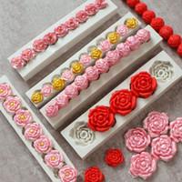 fondant de rosas al por mayor-Colección Rose Fondant Candy Molde de silicona para la decoración de pasteles Sugarcraft, Cupcake Topper, Arcilla polimérica, Cera de jabón Elaboración de proyectos de artesanía