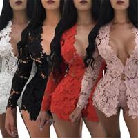 vêtements en soie de lait achat en gros de-2019 Automne Femmes Laine À Manches Longues Soie Velours Shorts À Lacets Sexy Palysuits Combinaisons Casual Barboteuses Sexy Night Club Vêtements